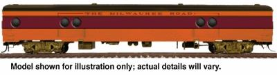 Walthers 1955 Twin Cities Hiawatha Express Car #1 w/Conductor's Window - Ready to Run -- Milwaukee Road #1330-1336 (orange, maroon, black) - HO-Scale