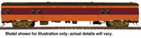 Walthers 1955 Twin Cities Hiawatha Express Car #1 w/Conductors Window - Ready to Run Milwaukee Road #1330-1336 (orange, maroon, black) - HO-Scale