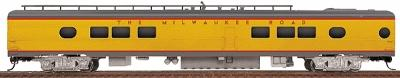 Walthers Milwaukee Road Yellow & Gray Streamlined Cars Assembled -- 26-Seat Tap Lounge #172-73 w/Notched Sills, 8' Nystrom Trucks & Clasp Brakes - HO-Scale