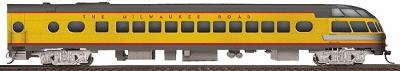 Walthers Milwaukee Road Yellow & Gray Streamlined Cars Assembled ...Rapids Series #186-189 Skytop Lounge - HO-Scale