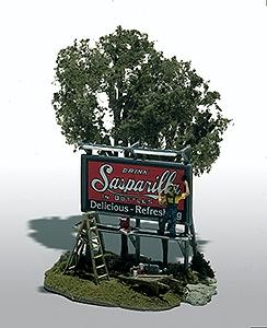 Woodland Scenics The Sign Painter (Roadside Billboard) Mini-Scene -- HO-Scale Unpainted Metal Kit -- #105