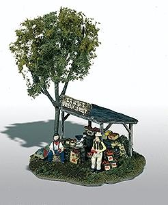 Woodland Scenics Ernie's Fruit Stand -- HO Scale Mini-Scene Unpainted Metal Kit -- Model Railroad Building -- #109