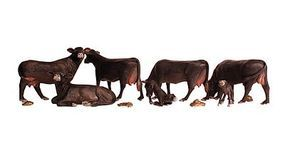 Woodland Black Angus Cows pkg(7) N Scale Model Railroad Figure #2217