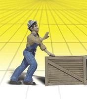Woodland Dock Worker CALVIN P CRATE G Scale Model Railroad Figure #2523