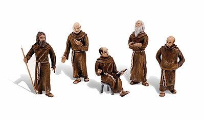 Woodland Scenics Friars & Monks - Scene-A-Rama(R) - pkg(5) -- Misc Scale Model Railroad Figure -- #4453