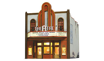 Woodland Theatre Built & Ready Structure w/ Lights HO Scale Model Railroad Building #5054