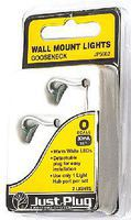 Woodland Just Plug Gooseneck Wall Mount Lights (2) O Scale Model Railroad Building #5662