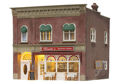 Woodland Emilios Italian Restaurant w/ Lights Built & Ready O Scale Model Railroad Building #5855