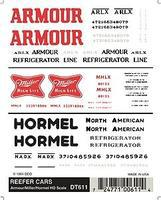 Woodland Armour, Miller , Hormel Dry Transfer Model Railroad Lettering Sets #611