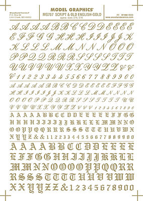 Woodland Scenics Script/Old English Numbers and Letters (Gold) -- Dry Transfer Model Railroad Decal -- #757