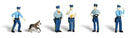 Woodland Scenic Accents Policemen (5 w/Dog) HO Scale Model Railroad Figures #a1822