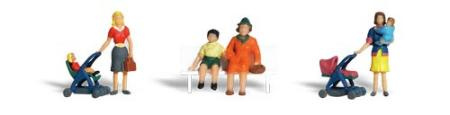Woodland Scenic Accents Moms & Kids (6) HO Scale Model Railroad Figures #a1832