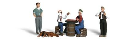 Woodland Scenic Accents Checker Players (4) HO Scale Model Railroad Figure #a1848
