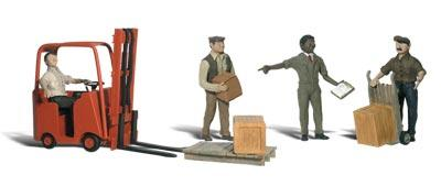 Woodland Scenics Workers w/Forklift -- HO Scale Model Railroad Figure -- #a1911