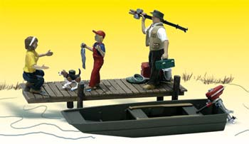 Woodland Scenics Family Fishing -- HO Scale Model Railroad Figure -- #a1923