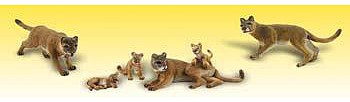 Woodland Cougars & Cubs (6) HO Scale Model Railroad Figure #a1949
