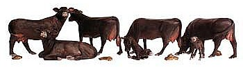 Woodland Black Angus Cows HO Scale Model Railroad Figure #a1955