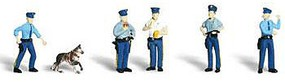 Woodland Policemen (5 w/Dog) N Scale Model Railroad Figure #a2122