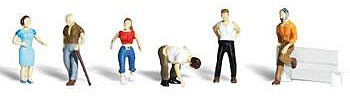 Woodland Ordinary People Various Poses (6) N Scale Model Railroad Figure #a2124