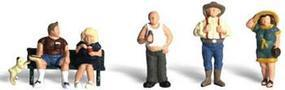 Woodland Full Figured Folks (5 Figures w/Bench) N Scale Model Railroad Figure #a2130