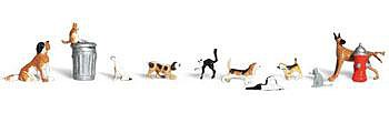 Woodland Scenics Scenic Accents Dogs (7) & Cats (3) -- N Scale Model Railroad Figure -- #a2140