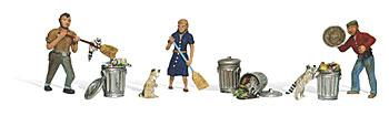 Woodland Scenic Accents People (3) & Pesky Raccoons (4) N Scale Model Railroad Figure #a2158