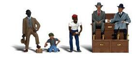 Woodland Shoe Shiners w/Small & Large Shoe Shinner Box (5) N Scale Model Railroad Figures #a2176