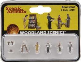 Woodland Scenic Accents Newsstand w/4 Figures N Scale Model Railroad Figure #a2191