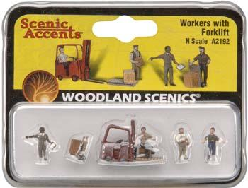 Woodland Scenics Workers With Forklift -- N Scale Model Railroad Figure -- #a2192