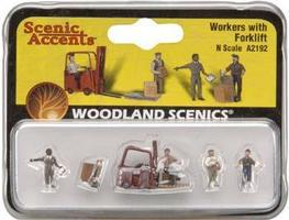 Woodland Workers With Forklift N Scale Model Railroad Figure #a2192