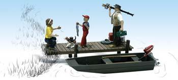 Woodland Scenics Family Fishing -- N Scale Model Railroad Figure -- #a2203