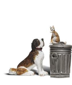 Woodland Scenic Accents(R) Figures - Dog w/Cat On Trashcan G Scale Model Railroad Figure #a2524