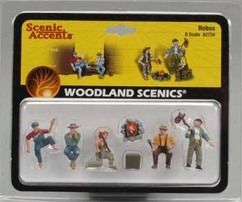 Woodland Scenics Hobos -- O Scale Model Railroad Figure -- #a2734