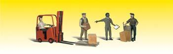 Woodland Workers with Forklift O Scale Model Railroad Figure #a2744