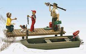 Woodland Family Fishing O Scale Model Railroad Figure #a2756