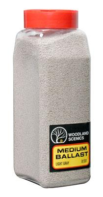Woodland Scenics Ballast -- Medium (Light Gray) 32 oz -- Model Railroad Ballast -- #b1381