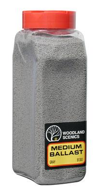 Woodland Scenics Ballast -- Medium (Gray) 32 oz -- Model Railroad Ballast -- #b1382