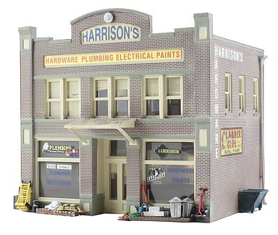 Woodland Built-N-Ready Harrisons 2-Story Hardware Store N Scale Model Railroad Building #br4921