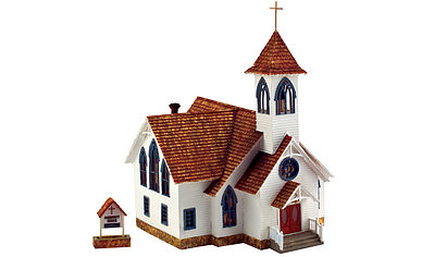 Woodland Community Church HO Scale Model Railroad Building #br5041