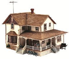 Woodland Corner Porch House HO Scale Model Railroad Building #br5046