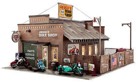 Woodland Deuces Cycle Shop O Scale Model Railroad Building #br5846