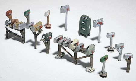 Woodland Scenics Assorted Mailboxes (17) -- HO Scale Model Railroad Building Accessory -- #d206