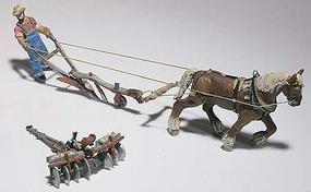 Woodland Farmer w/Horse/Plow/Disc Kit HO Scale Model Railroad Building Accessory #d210