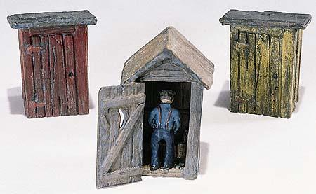 Woodland Scenics Outhouses (3) & Man -- HO Scale Model Railroad Building -- #d214