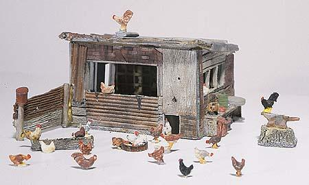 Woodland Chicken Coop HO Scale Model Railroad Building #d215
