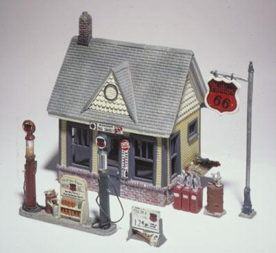 Woodland Scenics Scenic Detail -- Gas Station Kit -- HO Scale Model Railroad Building -- #d223