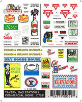 Woodland Taverns/Gas Station Signs Model Railroad Decal #dt551