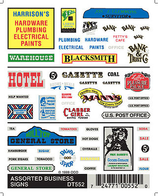 Woodland Assorted Business Signs Model Railroad Decal #dt552