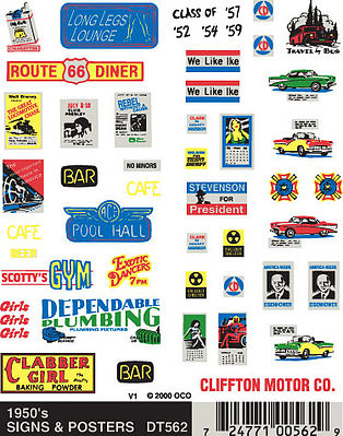 Woodland Dry Transfer 1950s Signs & Posters Model Railroad Decal #dt562