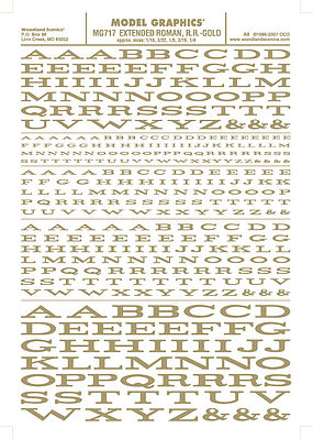 Woodland Extended Roman R.R. Letters Gold 1/16 - 1/4 Model Railroad Decal #mg717
